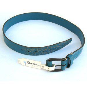 Robert Graham Penniman Leather Belt Sky Blue Sz 32